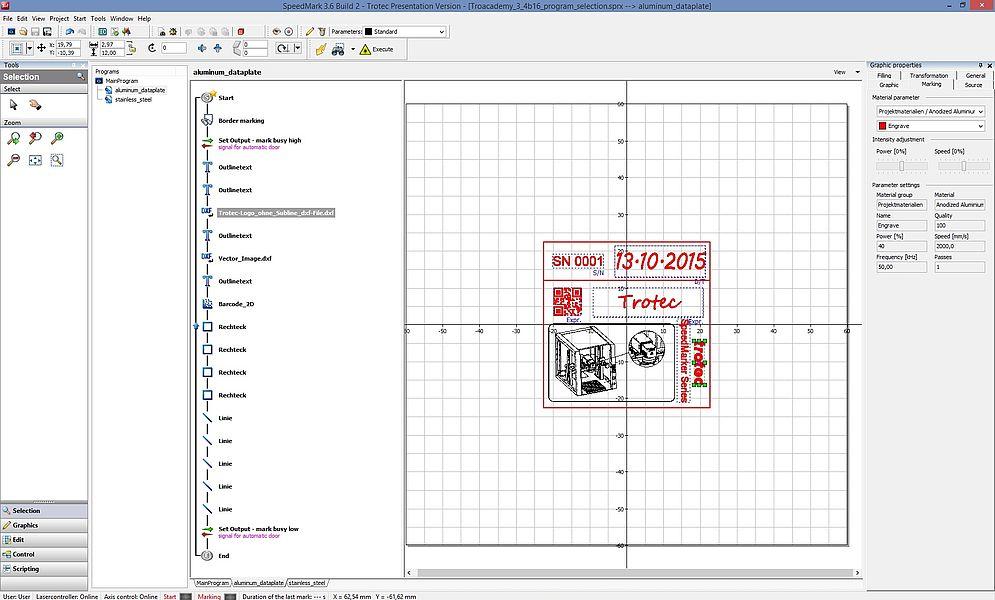 Programirani vodilni zaslon (HMI) za lasersko označevanje podatkovnih plošč