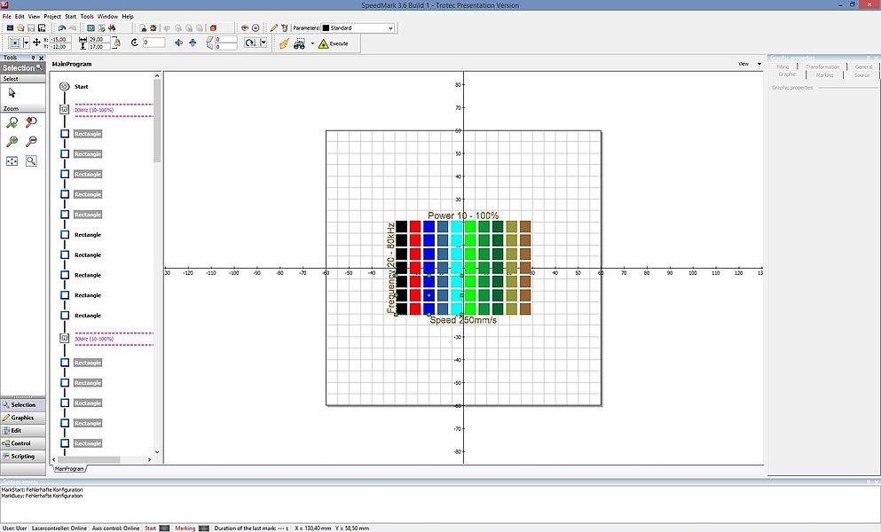 Programska oprema SpeedMark laser: iskalnik parametrov