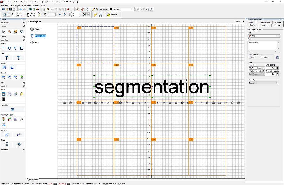 SpeedMark: Segmentation via axes
